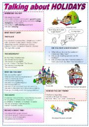 English Worksheets: Talking about Holidays