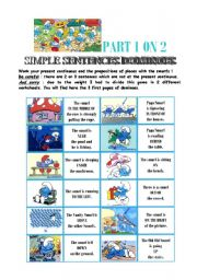 English Worksheet: dominoes present continuous + prepositions of place with the smurfs - 1/2