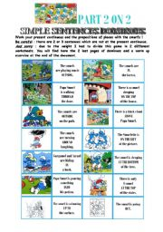 English Worksheets: dominoes on present continous + prepositions of place with the smurfs - 2/2