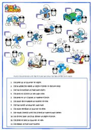 English Worksheets: Smurf daily routine & Time