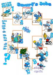English Worksheets: smurfs and jobs boardgame
