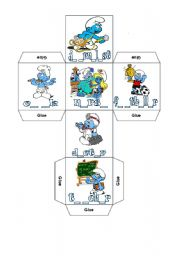 English Worksheet: Two DICE and CRISS-CROSS BINGO with The SMURFS