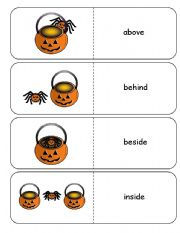 English Worksheet: Where is the Spider Halloween Preposition Dominoes and Memory Cards Part 1 of 3