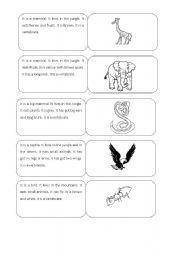 English Worksheets: ANIMALS DESCRIPTIONS - DOMINOES