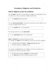 English Worksheet: Permission, Obligation, Prohibition