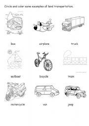 Land Transportation Worksheet - ESL worksheet by chix_111