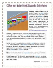 English Worksheet: China and India Next Economic Superpower