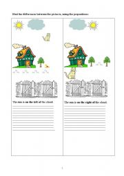 English Worksheet: find the differences with peepostions
