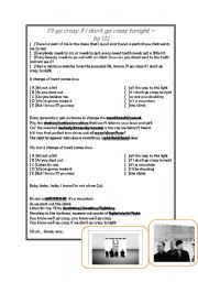 English Worksheets: U2 Song: I�ll go crazy if I don�t go crazy tonight
