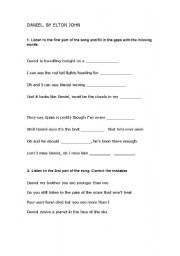 English Worksheets: Daniel by Elton John