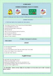 English Worksheet: BACK TO SCHOOL - ICEBREAKER- SUMMER MEMORIES/IT�S NICE TO BE BACK TO SCHOOL!