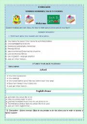 English Worksheet: BACK TO SCHOOL - ICEBREAKER- SUMMER MEMORIES/IT´S NICE TO BE BACK TO SCHOOL!