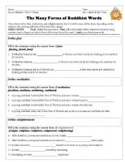 English worksheets: Forms of Buddhist Vocabulary