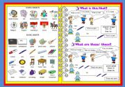 English Worksheets: SCHOOL SUBJECTS/ SCHOOL OBJECTS/ THAT-THIS/ THOSE-THESE