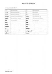 English worksheet: Past participle