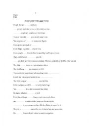 English Worksheet: complete with one word