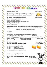 English Worksheet: Initial Test -6th Grade