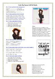 English Worksheet: Listening - Carly Rea Jepsen -  Call Me Maybe