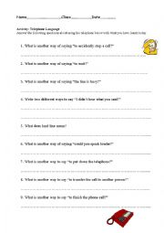Telephone Language - ESL worksheet by Steppers