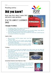 English Worksheet: Facts about London Olympic Games