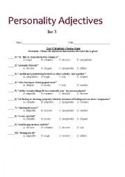 Home gt adjectives worksheets gt personality adjectives multiple choice