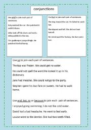 English Worksheet: USE OF CONJUNCTIONS