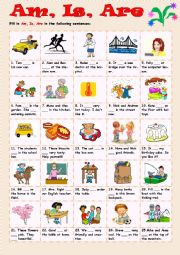 English Worksheet: Am, Is, Are