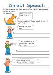 English Worksheet: Direct Speech