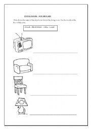 English worksheets: Living room activity