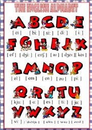 English Worksheet: The English Alphabet *** with Mickey Mouse and Friends