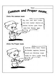English Worksheet: Common & Proper Nouns