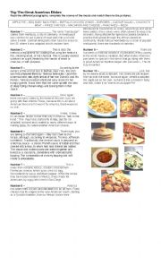English Worksheet: Top Ten American Dishes