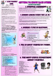 English Worksheet: GETTING TO KNOW EACH OTHER. Some ideas from my own experience.