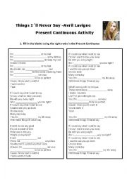 English Worksheet: Present Continuous Song Activity