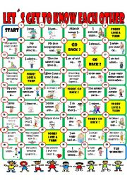 English Worksheet: Conversation board game (first day of class ice breaker)