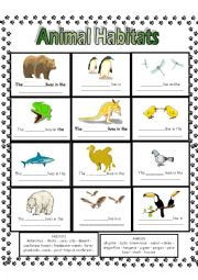 Habitat Worksheets for Second Grade http://www.eslprintables.com/vocabulary_worksheets/the_animals/animal_habitats/Animal_Habitats_234830/