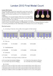 English Worksheet: London 2012 final medal count