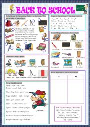 English Worksheet: Back to School (Vocabulary Revision/Practice)