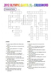 English Worksheet: 2012 OLYMPIC GAMES (1) – CROSSWORD