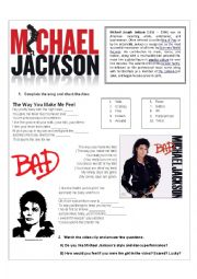 MICHAEL JACKSON - The way you make me feel - LISTENING Song activity (With Key!) - Present simple