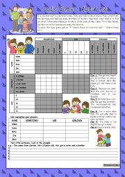 English Worksheet: Logic game (49th) - About me *** with key *** fully editable *** B&W
