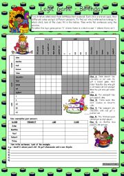 English Worksheet: Logic game (50th) - Birthdays *** with key *** fully editable *** greyscale