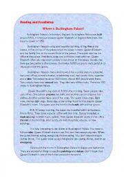 English Worksheet: Buckingham Palace ( A Reading Comprehension Worksheet)