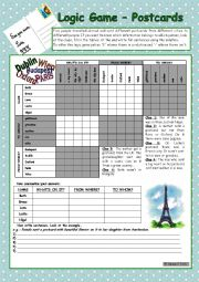 English Worksheet: Logic game (43rd) - Postcards *** for elementary ss *** with key *** fully editable *** B&W