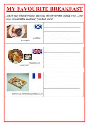 English Worksheet: TYPICAL BREAKFAST in FRANCE, The UK, SCOTLAND and the USA.
