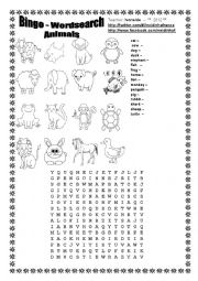 English Worksheet: Bingo - Wordsearch - Animals
