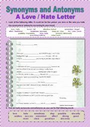 English Worksheet: SYNONYMS AND ANTONYMS CREATIVE LETTER
