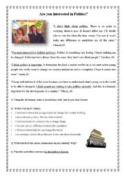 English Worksheet: Are you interested in Politics?