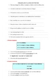 English Worksheet: Clause and Phrase of Purpose
