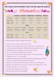 English Worksheet: School timetable